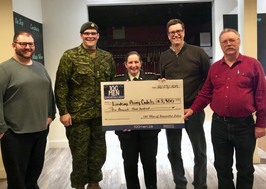 cheque presentation Lindsay Army Cadets