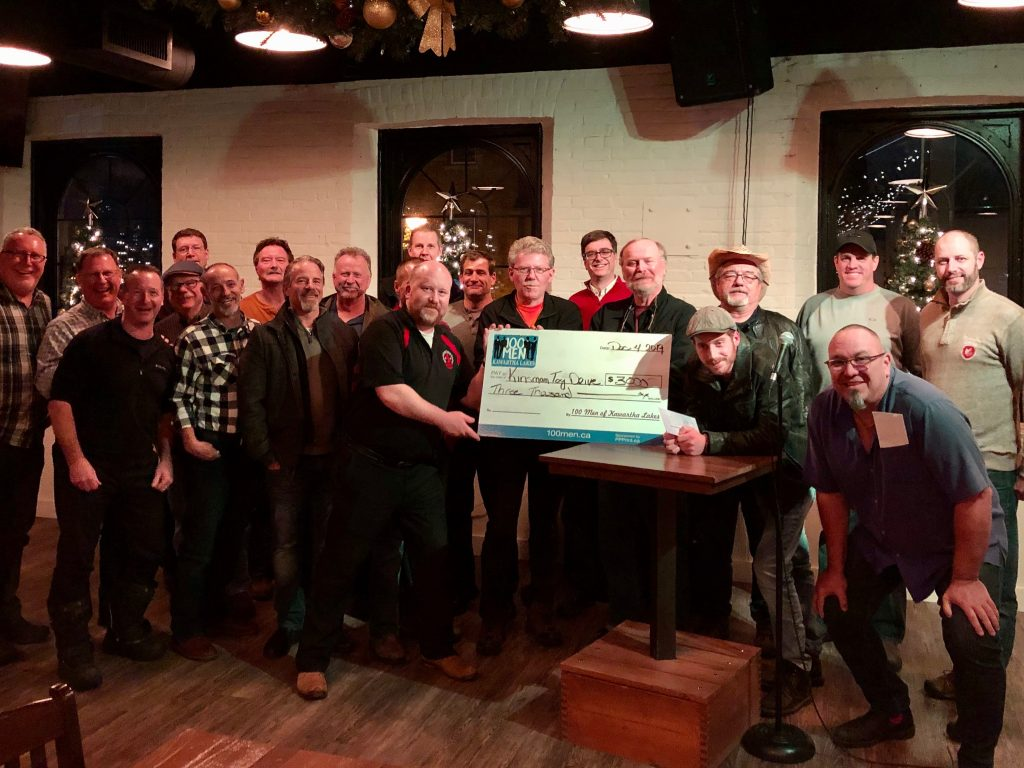 100 Men and 3000 cheque to Kawartha Toy Drive